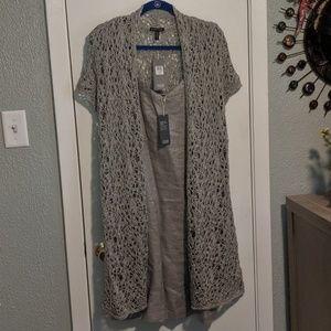 Eileen Fisher Cami dress & long cardigan set